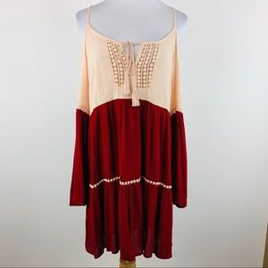Umgee pink and red cold shoulder gauze dress Sz S